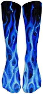LINING's Blue Flame Fire Patriotic Premium Calf High Athletic Calcetines Sports Outdoor