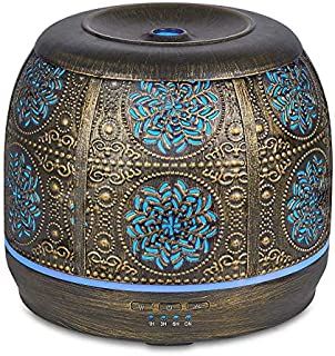 Bronze Art Aromatherapy Essential Oil Diffuser,Humidifier,Ultrasonic Quiet,Cool Mist,Adjustable Time Setting,Color Light Changing,Waterless Auto Off,for Baby,Home,Office,Yoga,Birthday,Gift,Decorative