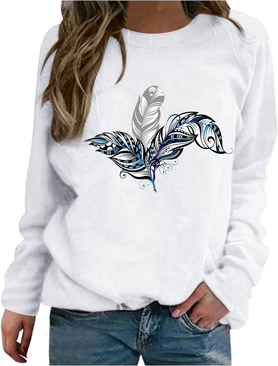 Today's only Pullover Tops Super-cheap for Women,Floral Print Fa Neck Round Sweatshirts