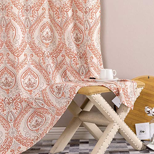 Vintage Linen Curtains for Living Room with Multicolor Damask Printed Drapes for Bedroom Medallion Curtain Sets for Windows Patio Door 2 Panels 84 Inch Terra Cotta