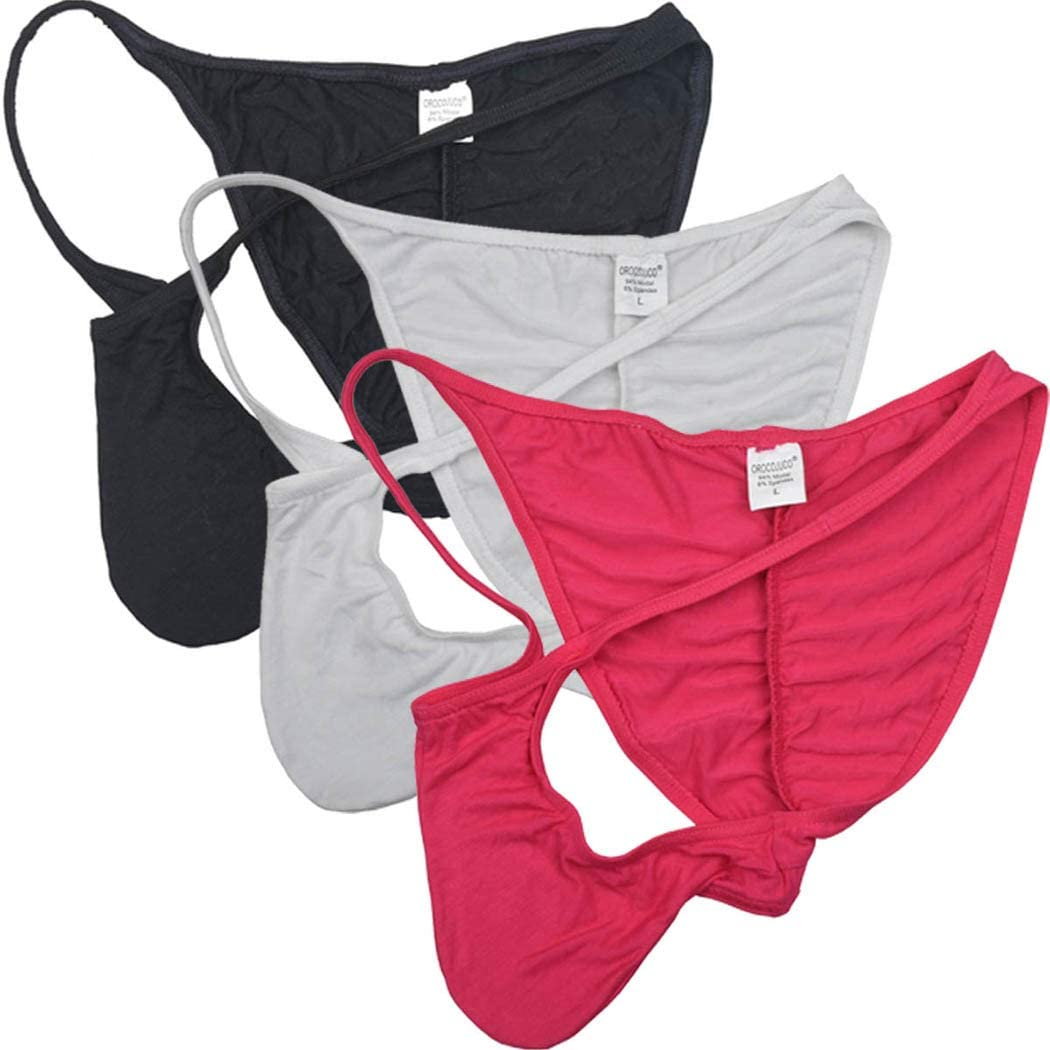 OROCOJUCO Men's Modal Cheeky Briefs Brazilain Bikini Underwear Ruched Back Skimpy Swimwear