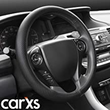 carXS GripTech Carbon Fiber Steering Wheel Cover, Black – Durable Anti-Slip Protector with Textured Finish, Universal Fit for Standard Wheel Sizes 14.5 15 15.5 inches