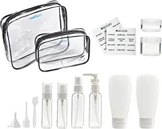 MAGIGO Toiletries Leak Proof Travel Bottle Set (14 Pack), TSA Approved Airline Carry-On with 2 Clear Bags