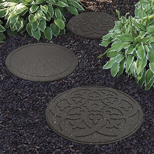Garden Gear Garden Stepping Stones Ornamental Path Eco Friendly Weatherproof Recycled Rubber with Scroll Design (2 Stones, Grey)