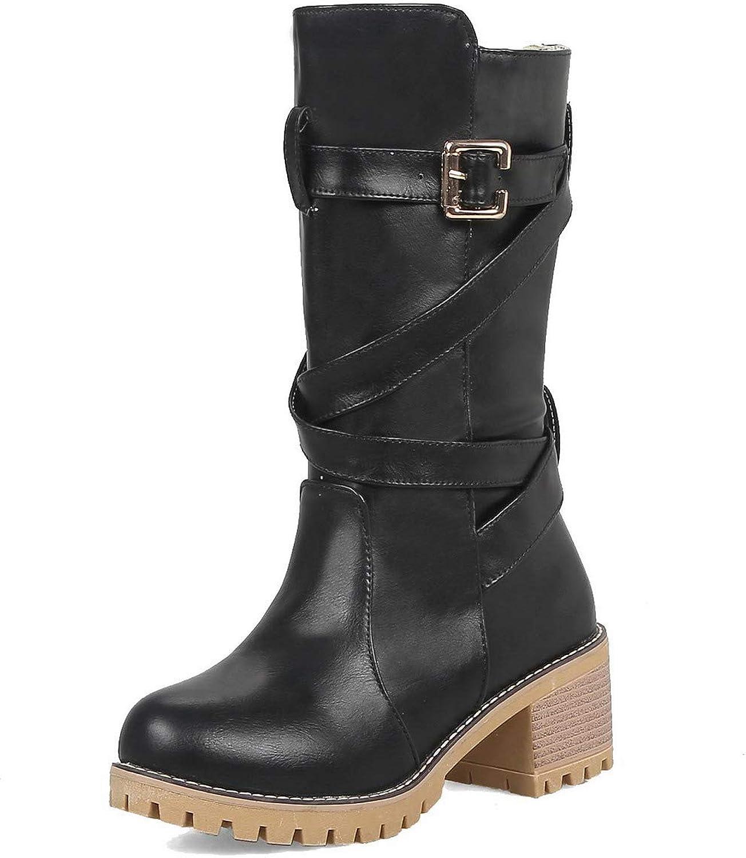 AllhqFashion Women's Kitten-Heels Solid Round-Toe Pu Pull-On Boots, FBUXD122974