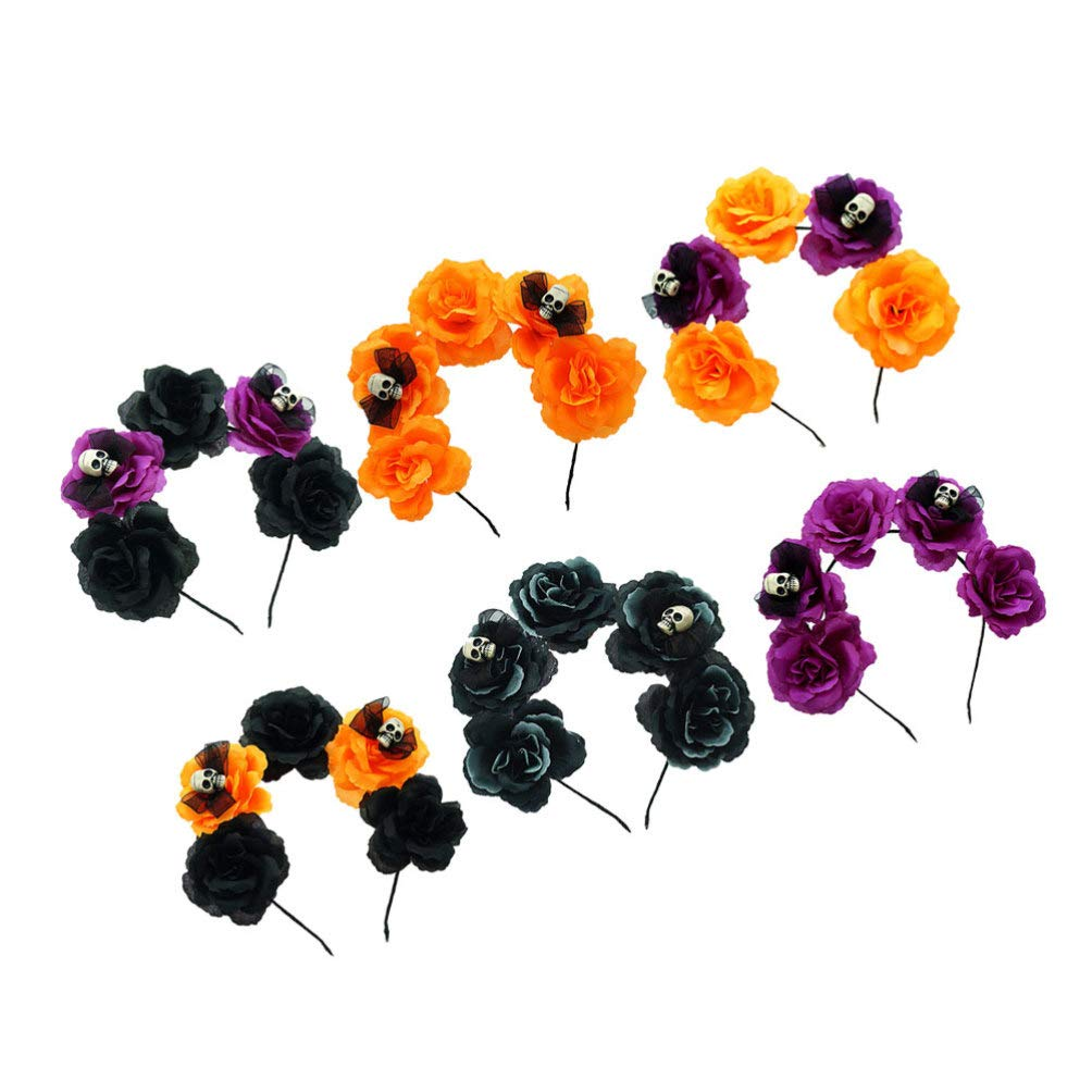 Minkissy 6pcs Day of The Dead Flower Headband Halloween Skull Rose Headpiece Colorful Artificial Flower Hair Hoop for Women Girls