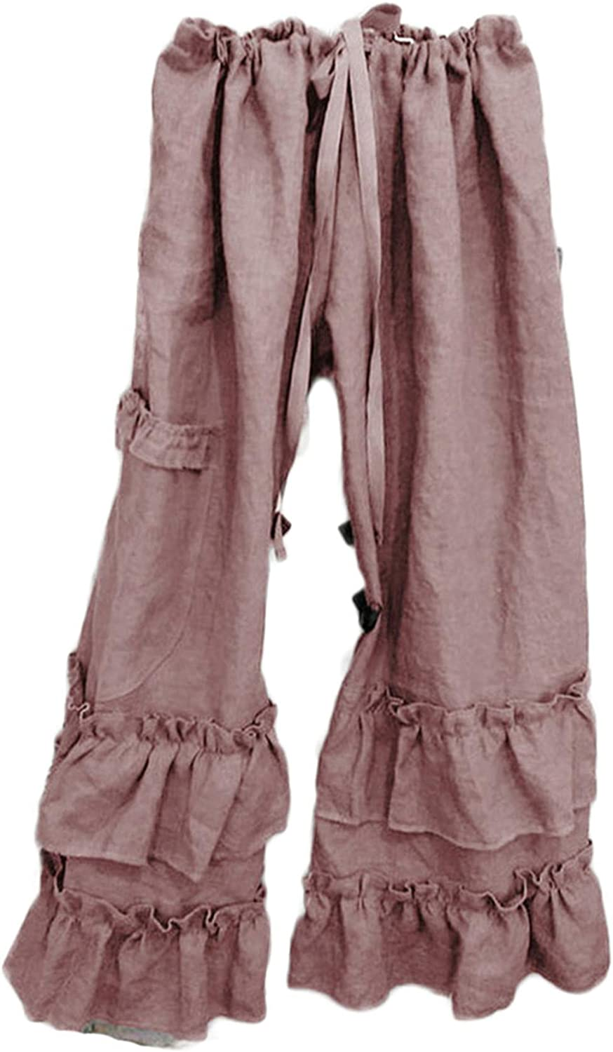 Andongnywell Women's Casual Pajamas Pants Drawstring Stretchy Loose Baggy Long Lounge Pants with Pockets Trousers (Pink,Small)