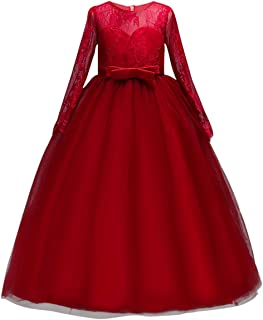 Fancy Girls Dress Tulle Lace Wedding Bridesmaid Ball Gown Floor Length Dresses for 4-14 Years
