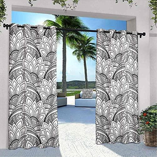 Cortinas impermeables para interiores y exteriores, diseño de flores monocromáticas con pétalos de cachemira, para dormitorio, sala de estar, porche, pérgola, 120 x 108 pulgadas, color negro y blanco
