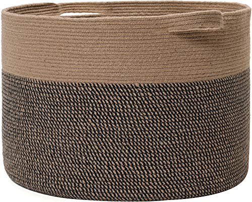 24 x 24 x 17 Max Size Large Cotton Rope Basket Extra Large Storage Basket Woven Laundry Hamper Toy Storage Bin for Blankets Clothes Toys Pillows in Living Room Baby Nursery JuteBlack Mix