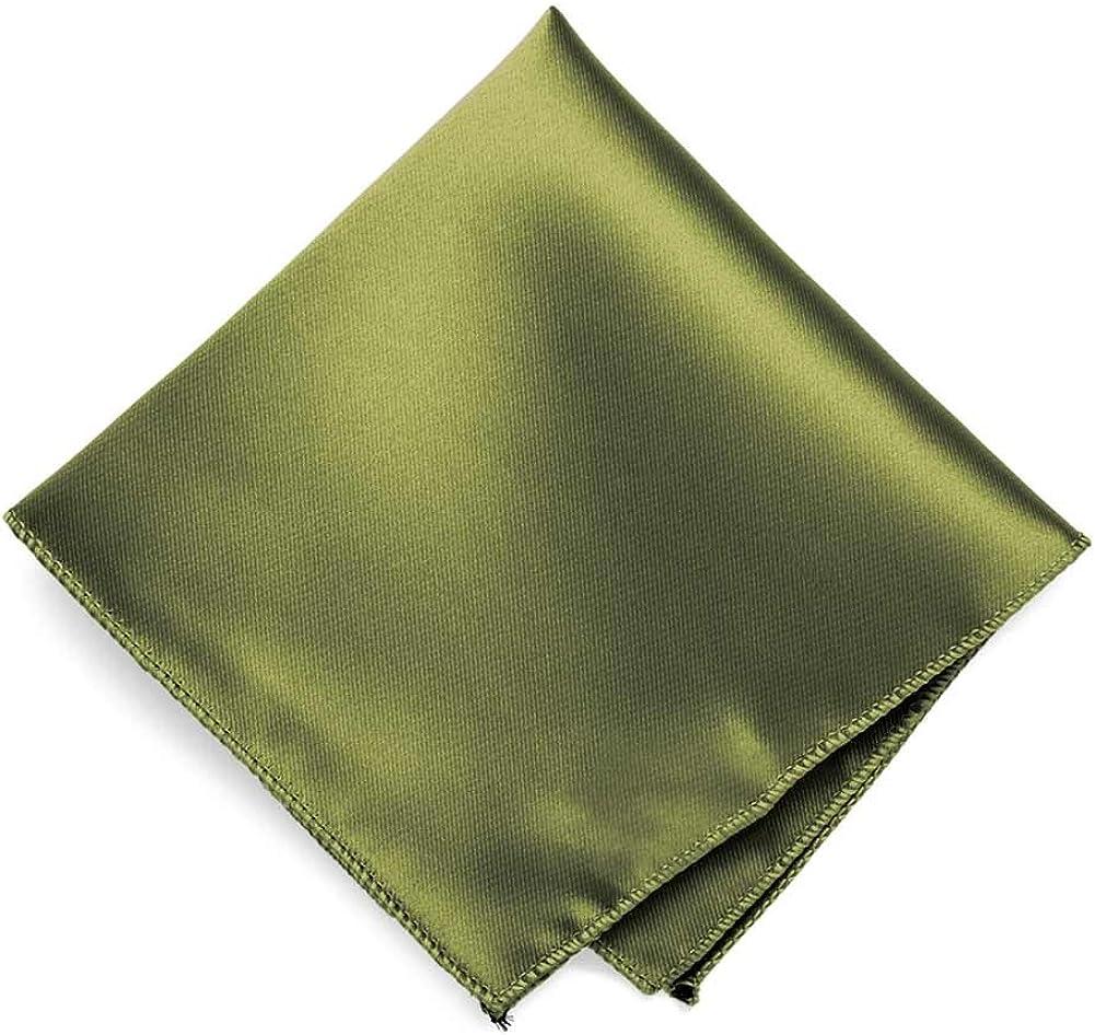 TieMart Olive Green Solid Color Pocket Square