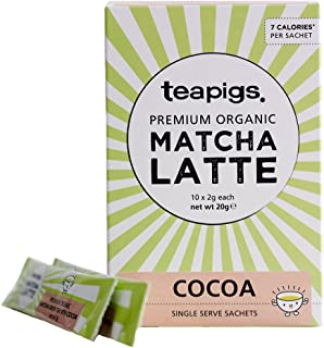 teapigs Organic Matcha Sachets, Cocoa, 10 Count