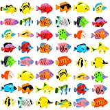 PROLOSO 48 Pcs Toy Fish Tropical Fish Figure Play Set Plastic Sea Animals Themed Party Favors for Kids Toddlers Bath Toys (Style 2)