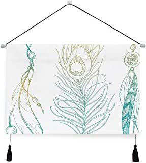 LUBATAGA Decorative Hanging Poster Aesthetic First Nations Feather and Peacock Tail Traditional Design Wall Art Canvas Pri...