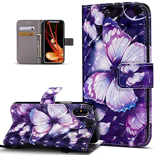 ikasus Coque iPhone X Etui Modèle de papillon peint en 3D coloré Housse Cuir PU Housse Etui Coque Portefeuille supporter Flip Case Etui Housse Coque pour iPhone X,Papillon Violet
