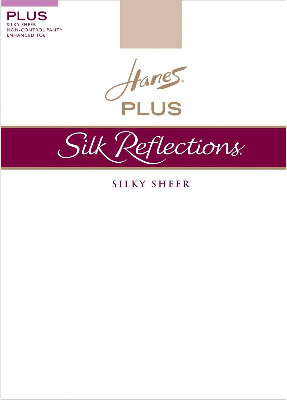 Hanes Silk Reflections Women`s Plus Sheer Non-Control Top Enhanced Toe Pantyhose