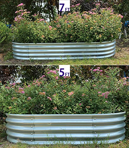 "Raised Garden Bed Metal Elevated Planter for Vegetable Flower Herb(7 ft.) 6 Product Size: 83""L x 35.5""W x 12""H Product Volume: 17.83 Cu. Ft. Suitable for planting vegetables、flowers and plants in your courtyard."