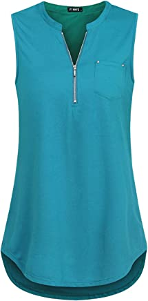 957780f5456 FINMYE Women s Sleeveless Zip-up Blouses Business Casual Tunic Tank Tops