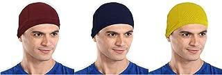 The Blazze Cotton Helmet Cap (Free Size, Maroon+Navy+Yellow)