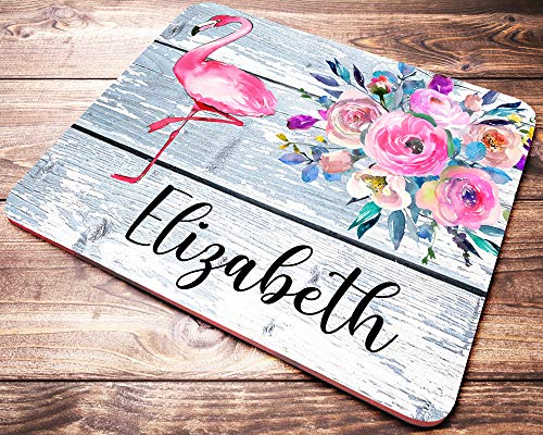 Personalized Flamingo Mouse Pad Pink Flamingo Floral Mousepad with Custom Name Office Desk Accessories for Women