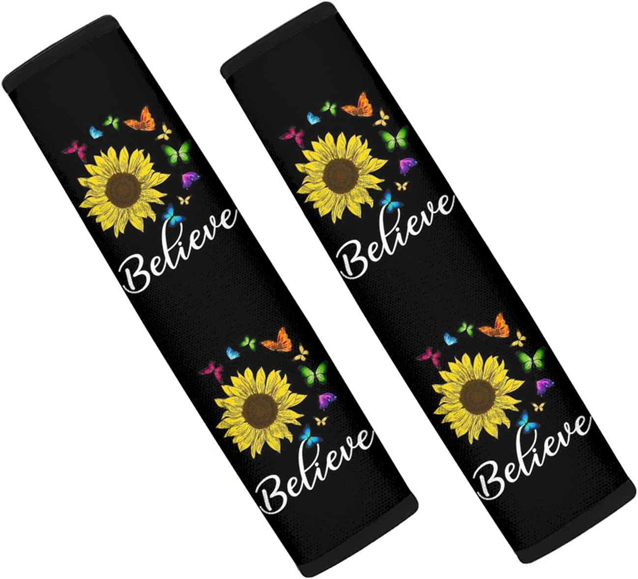 UZZUHI Sunflower Butterfly Car Seat Belt Covers, Believe Print 2PCS Soft Car Belt Protector Shoulder Seatbelt Pad for Adults Youth Kids, Fit for Car and Backpack Straps