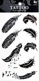 PP TATTOO 1 Bogen schwarzer Vogel Feder Tier wasserdicht tem