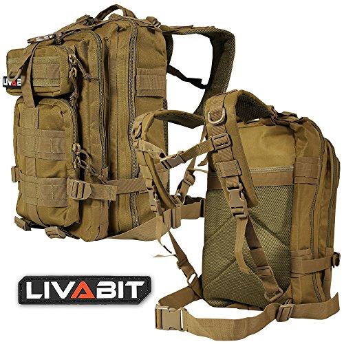 LIVABIT Tactical Emergency EDC 3 Day Earthquake Survivalist Grab and Go Bug Out Kit (TAN)