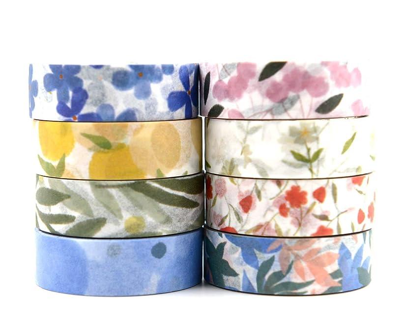 8 Rolls Spring Floral Fruits Design Washi Masking Tapes for Junk Bullet Journal, Scrapbook, Planner, Holiday Decoration, Art Craft