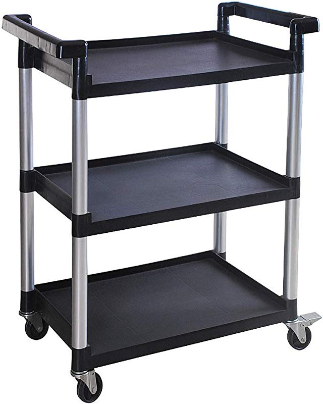 MaxWorks 80774 3 Shelf Utility Plastic Cart With Wheels 225 Lbs Maximum Capacity