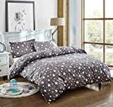 Bedding Duvet Cover Set 3-pieces Twin Size Microfiber, White And Grey Stars Stripes Prints Floral Patterns Design,Without Comforter (Twin, (1Duvet Cover+2Pillowcases)#05)