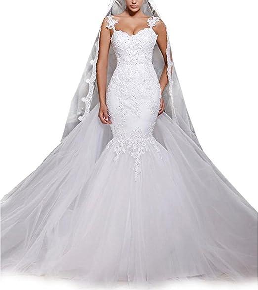 White//Ivory Gowns Detachable Train Lace Appliques Mermaid Wedding Dresses Bridal