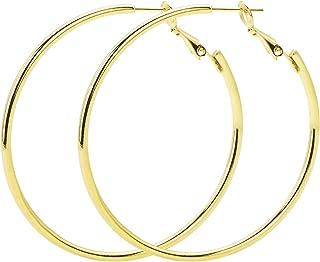 925 Sterling Silver Hoop Earrings,18K Gold Plated Polished Round Hoop Earrings For Women,Girls' Gifts