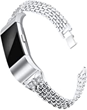 Mtozon Bands Compatible with Fitbit Charge 2, Metal Bling Wristbands for Women Replacement Dressy Bracelet/Bangle for Ladies Large Small