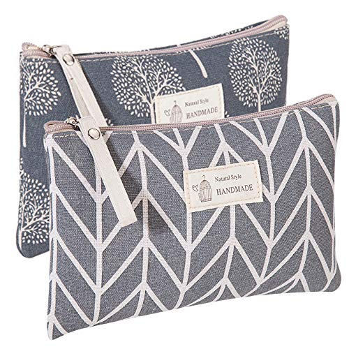Kimoli 2 Pcs Women Funny Makeup Bag Cute Cosmetic Bag Pouch for Purse Toiletry