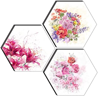 SAF Set of 3 Hexagon Modern Art Embossed Painting 17 Inch X 17 Inch SANFHXS30435