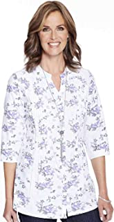 Ladies Womens Print Chambray 3/4 Sleeve Blouse