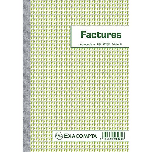 Exacompta - Réf. 3278E - 1 Manifold Factures avec mention TVA 21x14,8 cm avec 50 feuillets dupli autocopiants