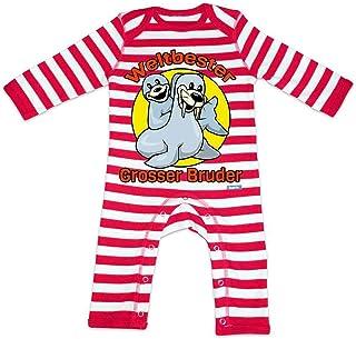 HARIZ Baby Strampler Streifen Weltbester Grosser Bruder Seelöwe Weltbester Grosser Bruder Plus Geschenkkarten Feuerwehr Rot/Washed Weiß 12-18 Monate