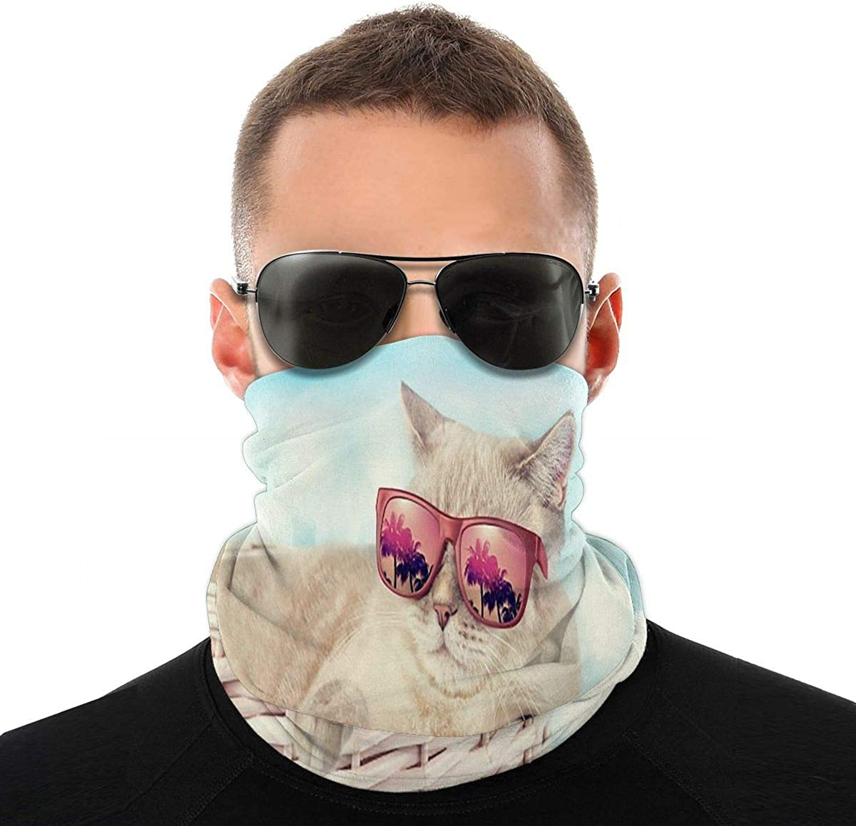 Kiuloam Bandanas Face Mask, The Cat In Sunglasses Lying In A Basket Neck Gaiter Mask Headband for Men Women Face Scarf Dust, Outdoors, Sports