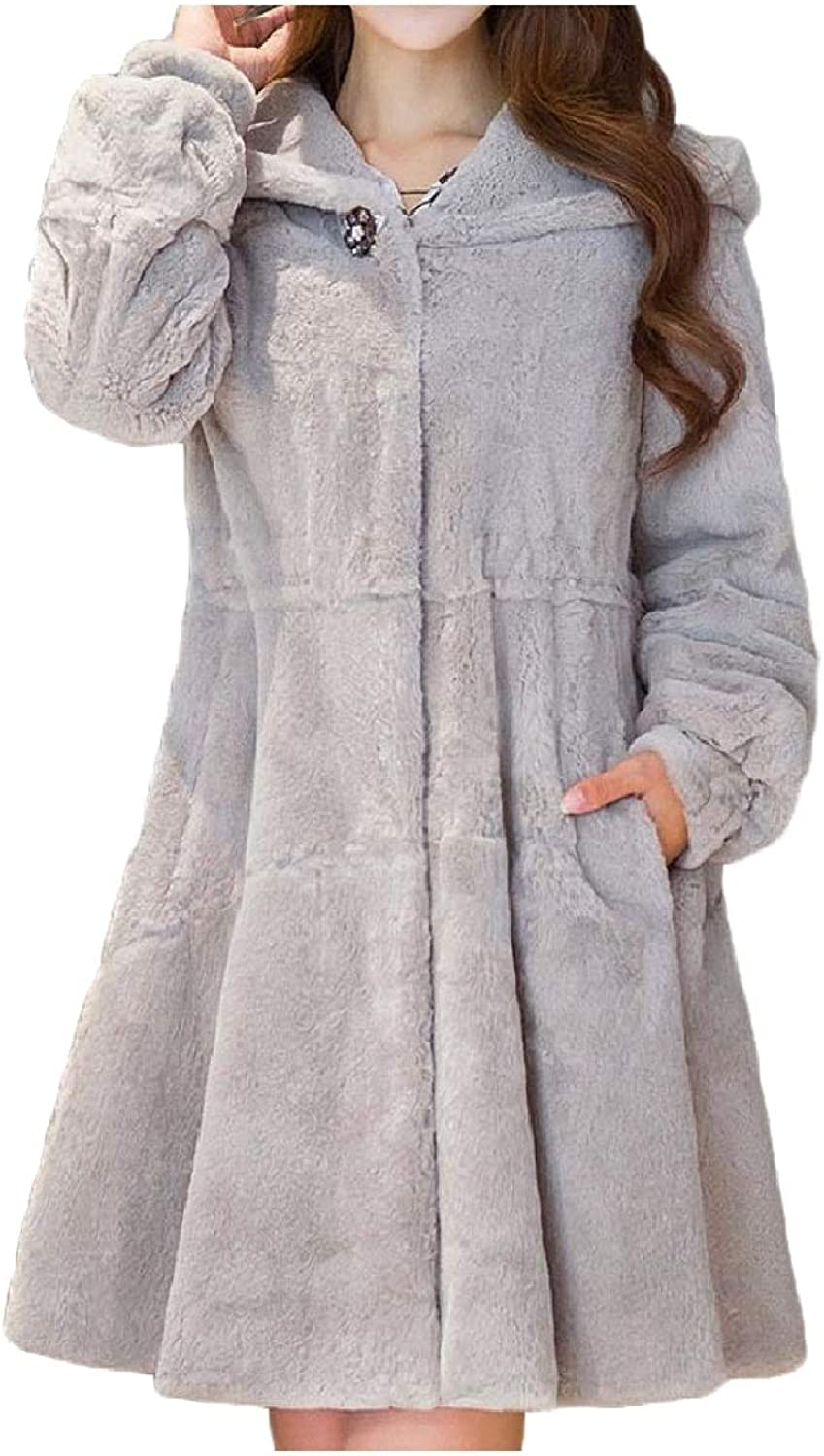 Baseby Women MidLong Fall Winter Faux Fur Hoodie Faux Fur Cardigan Coat