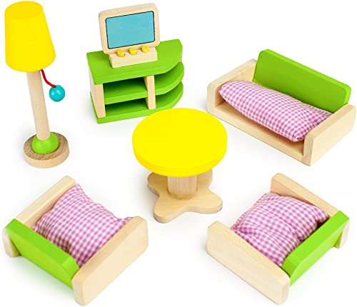 5 sets RYAN/'S ROOM MINI DOLLHOUSE FURNITURE WOODEN KITCHEN DISHES TOWEL RACK TOY