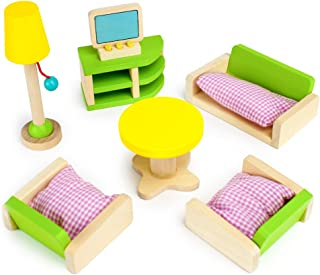 Imagination Generation Luxurious Living Room Set, 10 Pieces - Wooden Doll House Accessories Bundle - Miniature Furniture f...