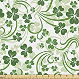 Lunarable Shamrock Fabric by The Yard, Lucky Celtic Clovers Swirls Monochrome Irish Design St Patrick's Day, Decorative Fabric for Upholstery and Home Accents, 2 Yards, Green Emerald