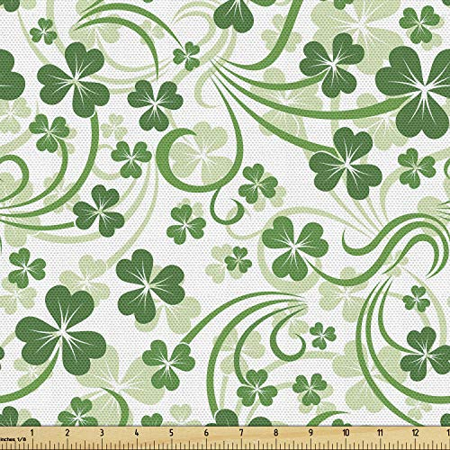 Lunarable Shamrock Fabric by The Yard, Lucky Celtic Clovers Swirls Monochrome Irish Design St Patrick's Day, Decorative Fabric for Upholstery and Home Accents, 3 Yards, Green Emerald