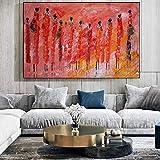 Impresión de lienzo Cuadros Etnicos Pinturas de arte tribal Mujeres africanas abstractas Cuadro de pintura al óleo colorida para sala de estar 70x100cm sin marco