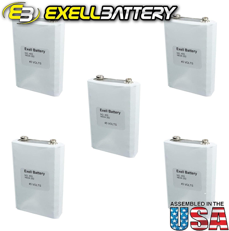 5pc Exell 455 Alkaline 45V Battery NEDA 201, EB-455, 30F40