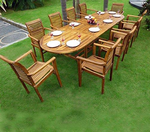 Salon de Jardin en Teck Table 3 mètres 10 fauteuils empilables