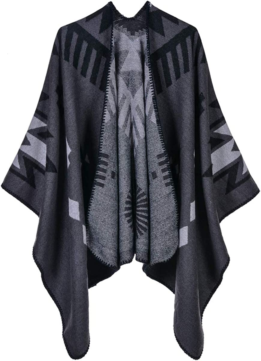 Idea Houses Women's Shawl Wrap Scarf Triangle Pattern Thick Warm Poncho Cloak