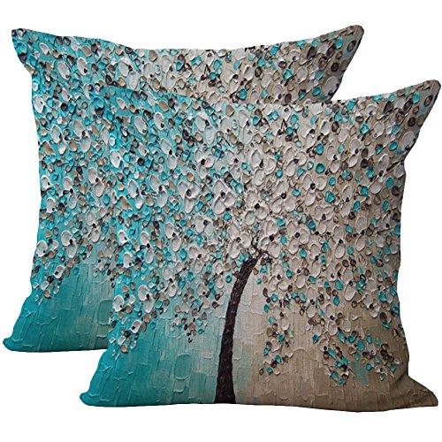 JOTOM Kissenbezüge,kissenhülle Abdeckung Ölgemälde-Baum-Blumen Kissenbezug 45 x 45cm,2er Set (Blaue graue Blume)