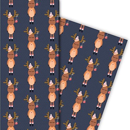 Leuk kerstcadeaupapier set (4 vellen), decoratiepapier, papier om in te pakken met grappige rendieren voor leuke geschenkverpakking en verrassingen 32 x 48 cm